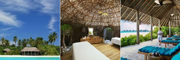 Six Senses Laamu, Six Senses Spa Exterior, Treatment Room and Relaxation Lounge