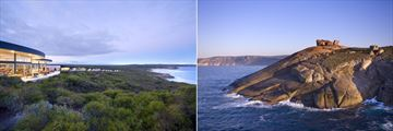 Southern Ocean Lodge, Views of Lodge at Sunset and Remarkable Rocks