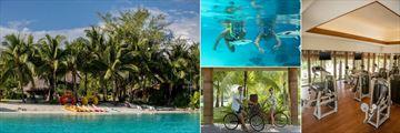 St. Regis Bora Bora Resort, Beach and Watersports, Snorkeling in the Lagoonarium, Fitness Room and Bikes