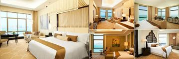 St. Regis - Doha, (clockwise from left): Grand Deluxe Room, Aster Room, Empire Suite, Caroline Astor Suite and The Presidential Suite