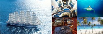 Royal Clipper Aerial View, RC Staircase, Sea Turtle, Barbados Beach, Royal Clipper Cabin