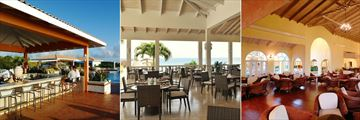 Starfish Grenada Resort, (from left): Traders Bar, Spicers Bistro & Bar and Tamarind Lounge