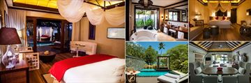 The H Resort Beau Vallon Beach, (clockwise from left): Beach Pool Villa and Bathroom, Grand Beach Pool Villa, Lounge, Deck and Pool