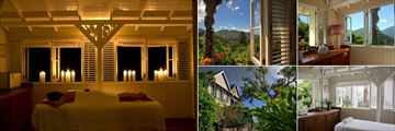 Strawberry Hill, (clockwise from left): Spa Massage, Mountain View From the Spa, Treatment Room View, Treatment Room and Library Exterior