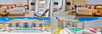 Clockwise from top left: Beach Suite, Family Suite, Grand Beach Suite and King Beach Suite at Sun Aqua Iru Veli