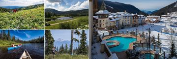 Sun Peaks Grand Hotel, Hiking, 18 Hole Golf Course, Hotel Pool and Views of Resort in Winter, Biking and Canoeing