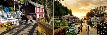 Telegraph Cove, Waterfront and Marina at Sunset