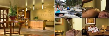 Tenaya Lodge at Yosemite, (clockwise from left): Accent Spa Lobby, Yoga, Body Treatment, Relaxation Room and Facial