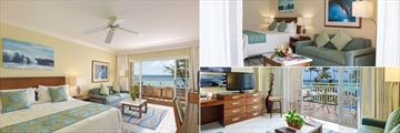Junior Suite Deluxe Oceanview (left), Junior Suite (top right), and Junior Suite Ocean View (bottom right) at Turtle Beach by Elegant Hotels