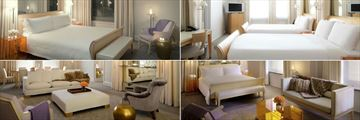 The Clift, (clockwise from top left): Deluxe King Guest Room, Preferred Two Doubles Guest Room, Studio and Deluxe One Bedroom Suite