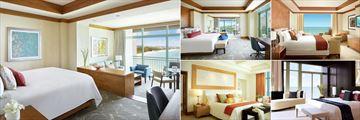 The Cove Atlantis, (clockwise from left): Ocean Suite, Indigio Suite, Azure Suite, Penthouse Suite and Sapphire Suite