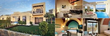 The Cove Rotana, (clockwise from left): Two Bedroom Villa Exterior, Villa Living Room, Two Bedroom Villa on the Hill with Pool, Premium Room and Classic Deluxe Premium Room