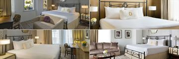 The Driskill, (clockwise from top left): City View Room, Junior Suite, Senate Room and Petite Queen Guest Room