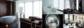 The Langham Chicago, (clockwise from left): Chuan Spa VIP Spirit Treatment Room, Heated Loungers, Couples Treatment Room, Contemplation Lounge and Spa Moon Gate