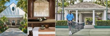 Spa Exterior, Treatment Room and Tennis Courts at The Ocean Club, A Four Seasons Resort, Bahamas