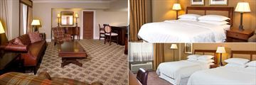 The Read House, (clockwise from left): Presidential Suite Living Area, King Guest Room and Double Guest Room Bedrooms