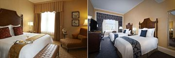 The Roosevelt New Orleans, A Waldorf Astoria Hotel, Luxury Suite and Deluxe Two Queen Guest Room
