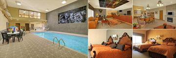 The Rushmore Express Hotel, (clockwise from left): Pool, Reception, Living Area and Bedrooms