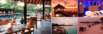 The Sun Siyam Iru Fushi, (clockwise from left): Fluid Bar and Pool, Trio Restaurant, Bubble Lounge, Islander Grill and Flavours Restaurant
