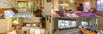 The West Coast Wilderness Lodge, (clockwise from top left): Oceanview Room, Oceanview Suite, Oceanview Suite Bathroom and Forest Suite