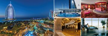 Burj Al Arab Hotel: Wail Wadi Waterpark night view, Pool, Royal Suite, Spa, Gold on 27