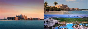 Emirates Palace exterior, beach, and pool