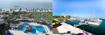 The marina and pool at JA Jebel Ali Beach Hotel