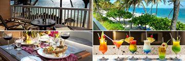 St James Club & Villas, Beachfront Room balcony, beach and cocktails