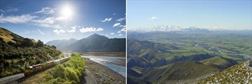 TranzAlpine Train & The Southern Alps from Canterbury Plains