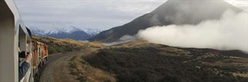 TranzAlpine train travelling through New Zealand