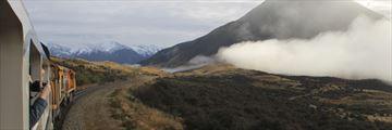 TranzAlpine train travelling through New Zealand