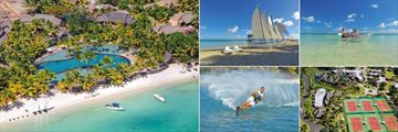 Trou Aux Biches Beachcomber Resort & Spa, (clockwise from left): Aerial View of Resort, Hobie Cats, Kayaking, Tennis Courts and Water Skiing