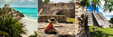 Tulum (left), child exploring Mayan ruins - copyright: Intrepid (middle), and Chichen Itza (right)