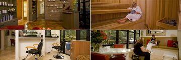 Tween Waters Inn Island Resort, (clockwise from top left): Spa Reception, Sauna, Pedicure Treatment and Salon