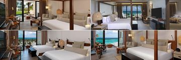 UNICO 20 87, (clockwise from top left): Alcoba Swim-Up Pool Room, Estancia Suite, Alcoba Oceanfront Room and Alcoba Ocean View with Two Queen Beds