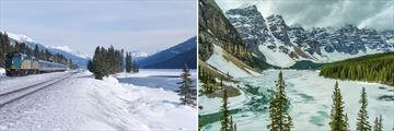 VIA Rail in the snowy landscapes & Frozen Winter Lake in Alberta