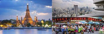 Bangkok's Wat Arun Temple, City views from the Tower Club & China Town