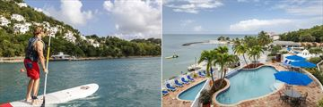 Windjammer Landing Villa Beach Resort, Stand-Up Paddle Boarding and Aerial View of Pools and Resort