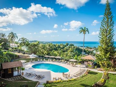 An aerial view of the pool at Bel Jou, St Lucia