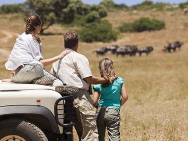 Family on game drive in South Africa