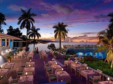 The dinner terrace at Jamaica Inn