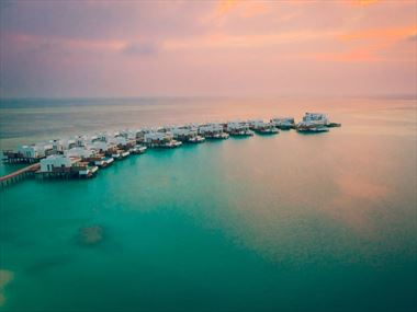 Aerial view of the Water Villas at LUX* North Male Atoll