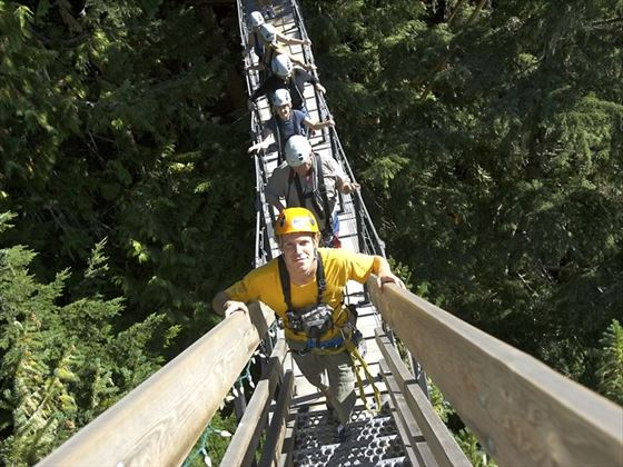 A group walking along a suspension bridge in the forest with Ziptrek Ecotours at Fitzsimmons Creek near Whistler