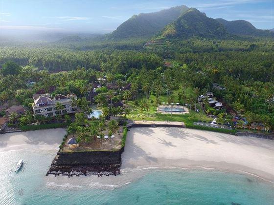 Aerial shot Candi beach resort