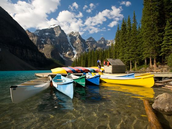 Canoes on Moraine Lake, Banff National Park