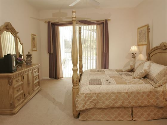Typical master bedroom, Disney area homes
