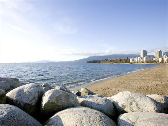 English Bay beach with a view of Stanley Park, Vancouver