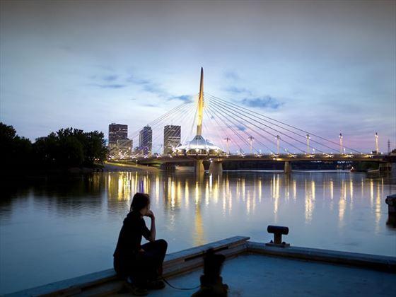 Esplanade Riel Pedestrian Bridge from St Boniface, Winnipeg