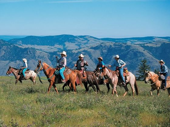Horseback riding through fields of wildflowers near Kamloops