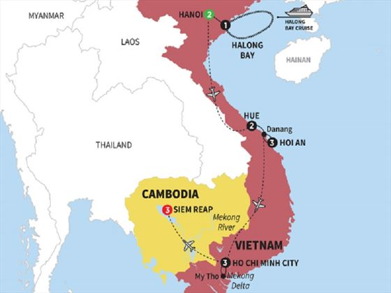 Highlights of Vietnam with Cambodia Map